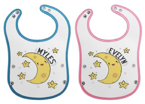 Personalised Name With Moon Waterproof Neoprene Baby Pocket Bib w/Buttons